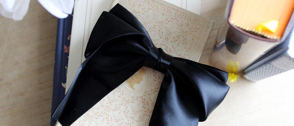 Barrette double-nœud en soie Emilie noir
