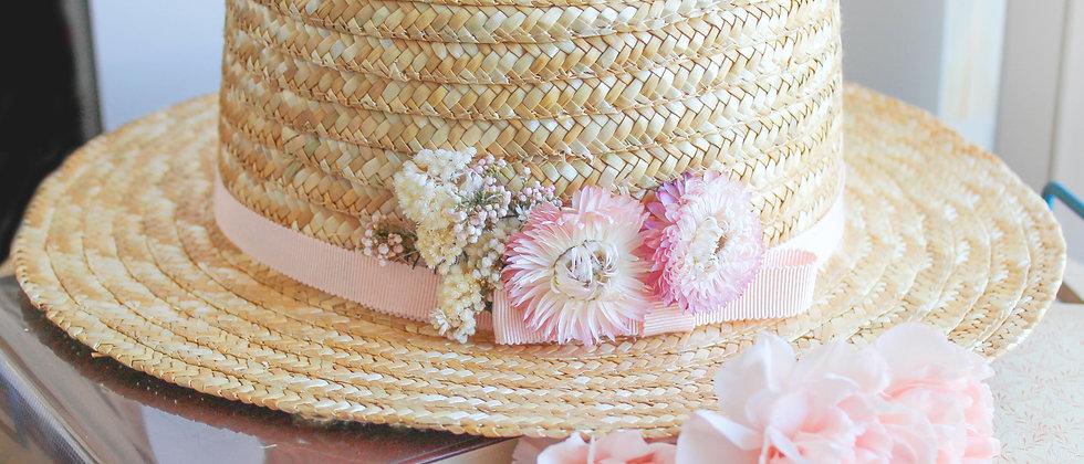 Canotier fleurs séchées Anne rose