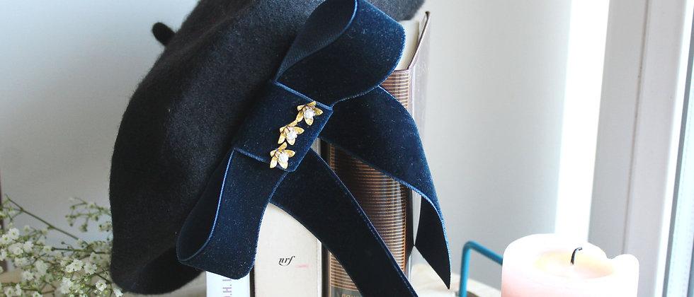 Béret noir nœud en velours bleu Alicia