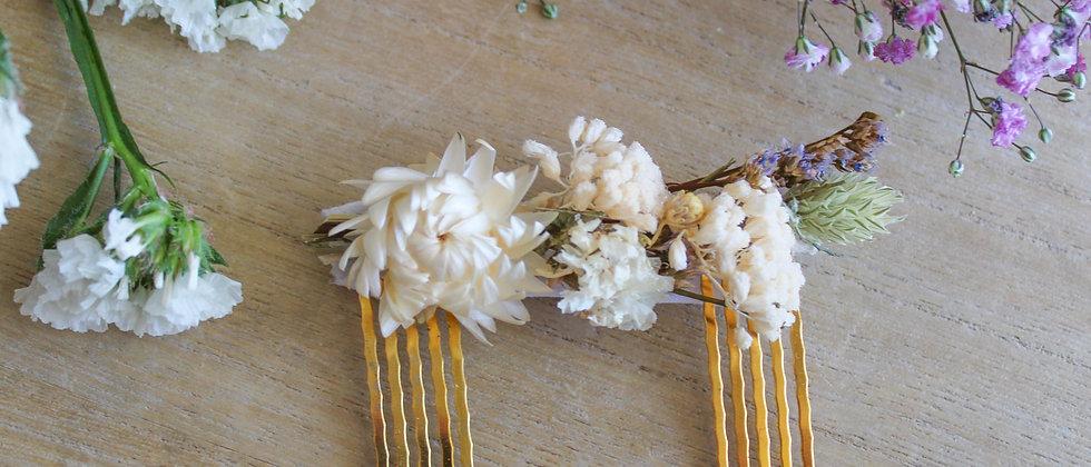 Double-peigne en fleurs séchées Liseron