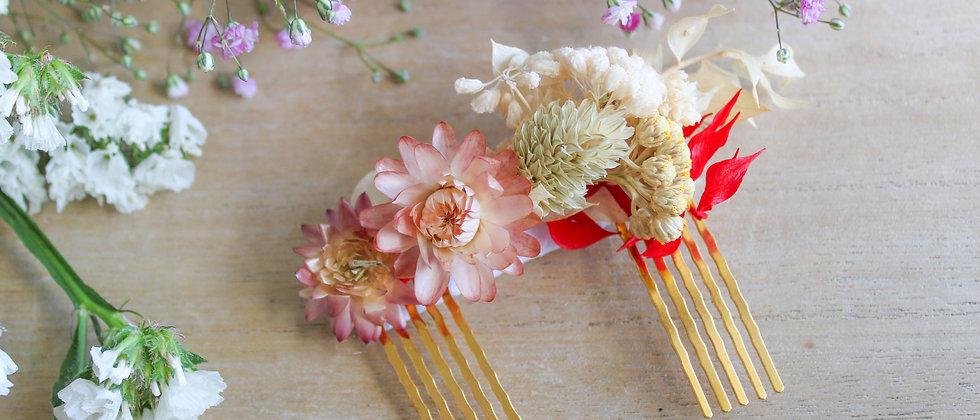 Double-peigne en fleurs séchées Azalée