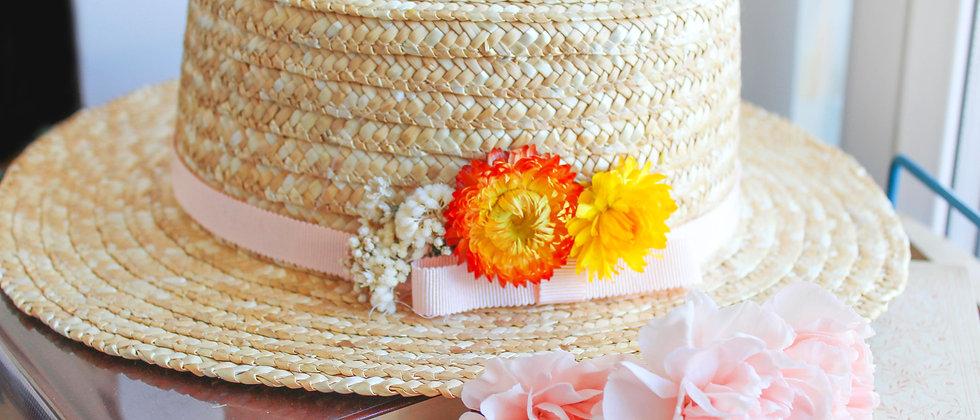 Canotier fleurs séchées Anne jaune