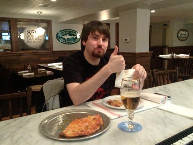 Our first Happy Hour Customer enjoying his 'Pie and a Beer' for $10.