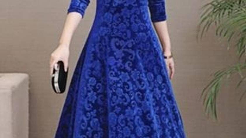Maroon Printed Velvet Long Dress