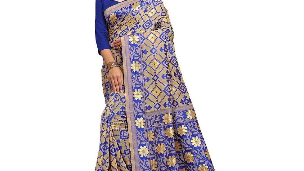 Women's Heavy Jacquard Navy Blue Art Silk with Blouse Piece