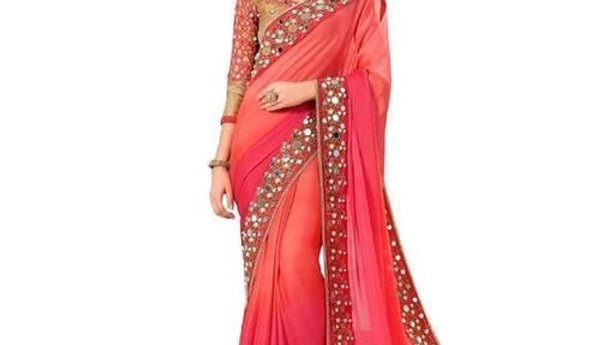 Kim Pretty Women's Banglori Silk Georgette Saree With Separate Blouse Piece