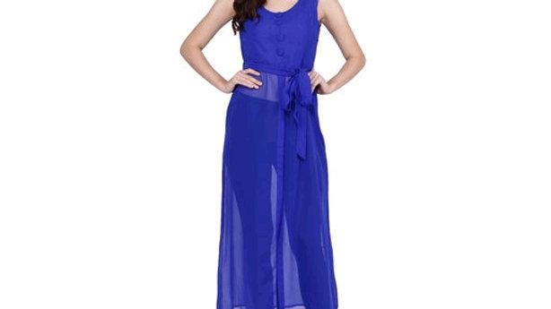 Printed multi color Calf-Length Georgette Dress