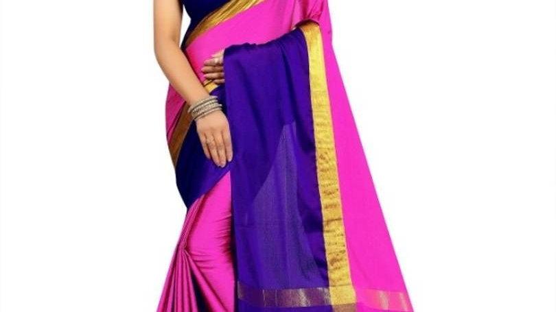 Multicoloured Cotton Silk Saree With Blouse