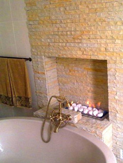 Heatwave's Pebble gas grate in bathroom.