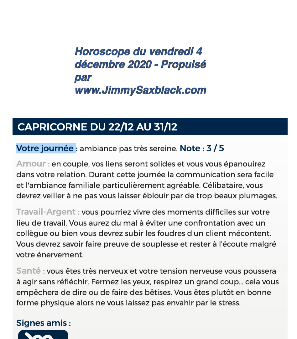 Capricorne Le vendredi 4 décembre 2020.