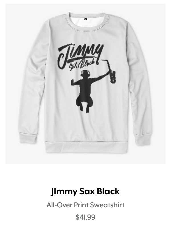 Jimmy Sax Black All Over Print Sweatshir