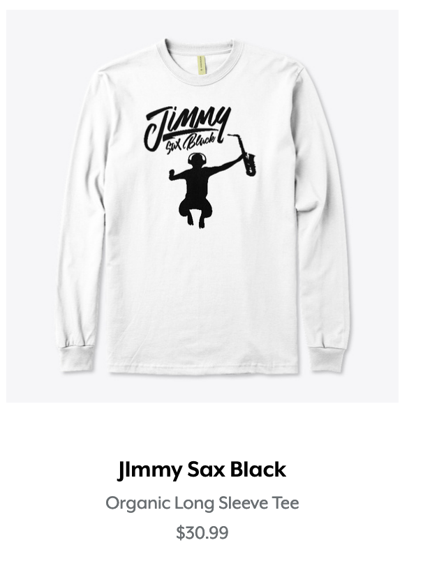 Jimmy Sax Black Organic Long Sleeve Tee.