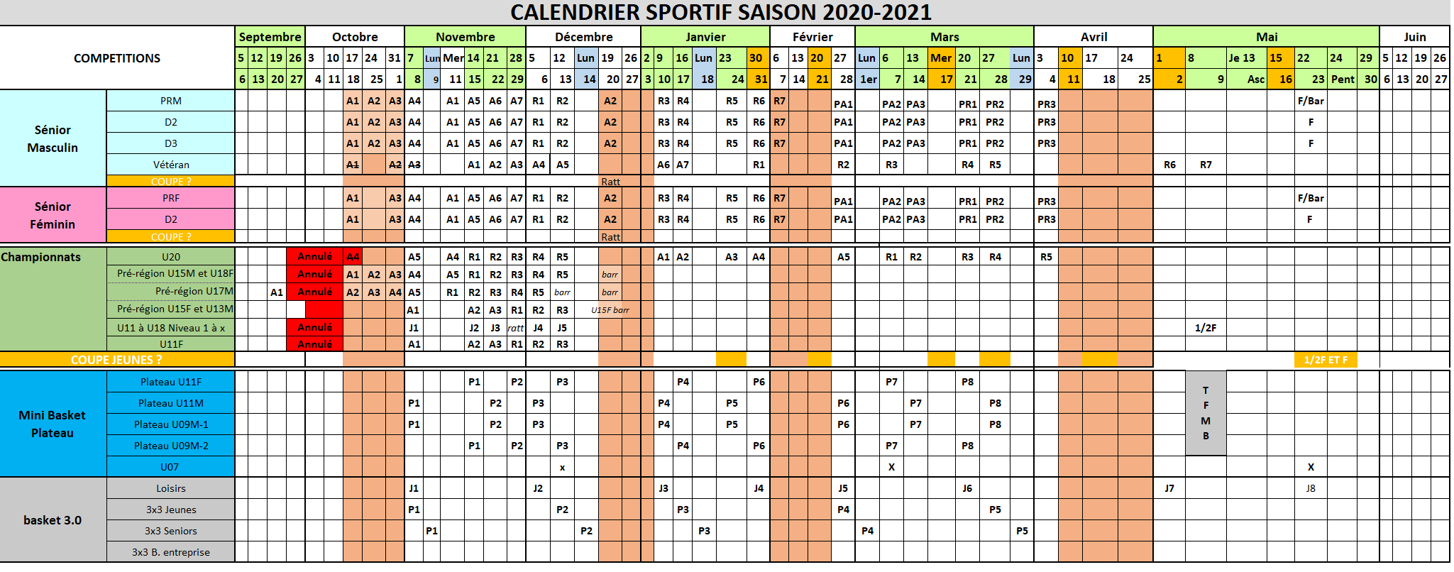 Calendrier CD33 2020-2021