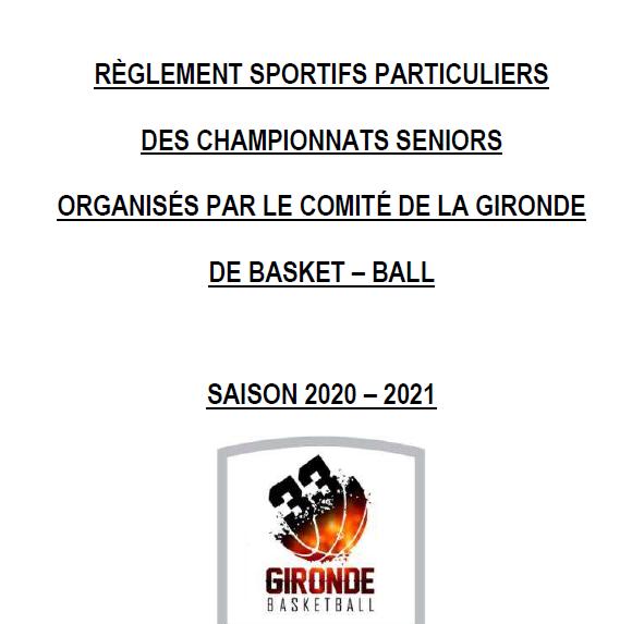 Le règlement sportif senior à jour au 15-12-2020