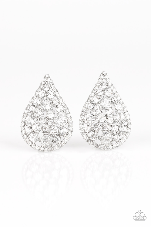 REIGN Storm - White rhinestone earring