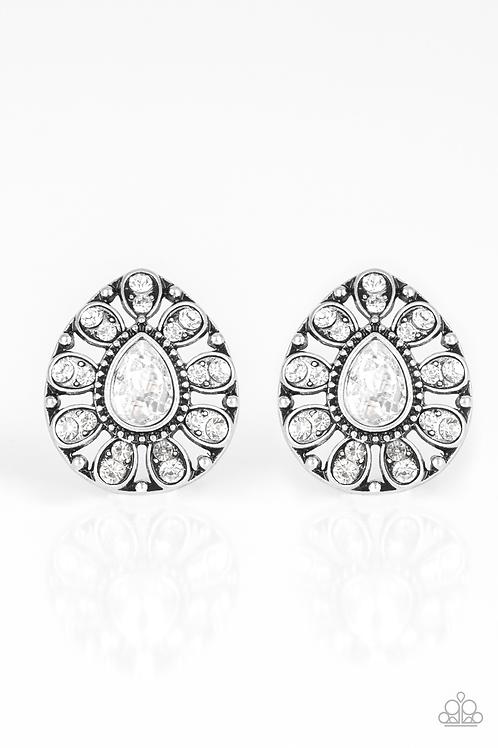 Treasure Retreat - white rhinestone earring