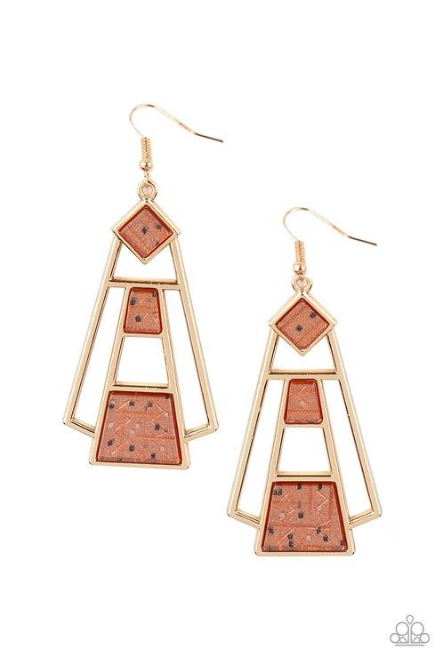 Retro Minimalist - Brown earrings