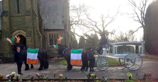 Team of Four Horses with Silver Hearse