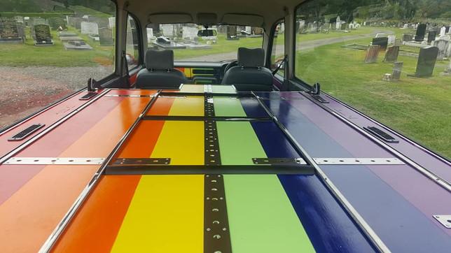 Rainbow Hearse Interior