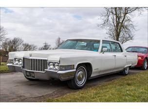 1970 White Cadillac family car