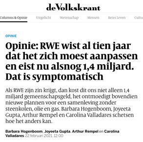 Opinie: RWE wist al tien jaar dat het zich moest aanpassen en eist nu alsnog 1,4 miljard