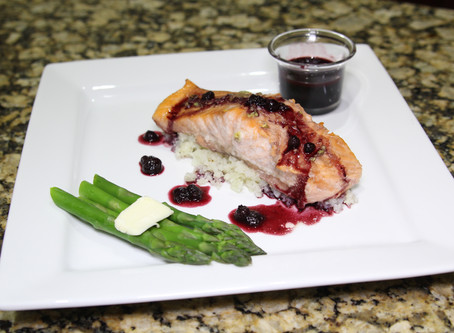 Salmon with Ghost Pepper and Blueberry Sauce