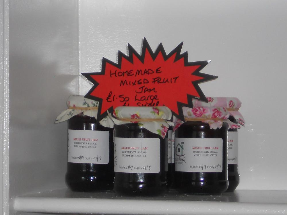 Jars of Home-made jam and marmalade