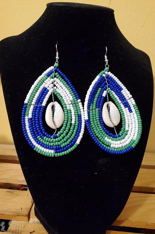 Beaded teardrop earrings with Cowrie Shell