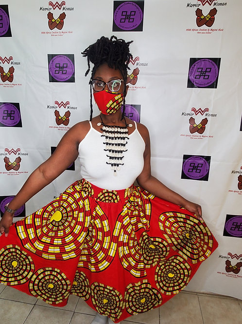 Afro-Mask and Midi Skirt Set