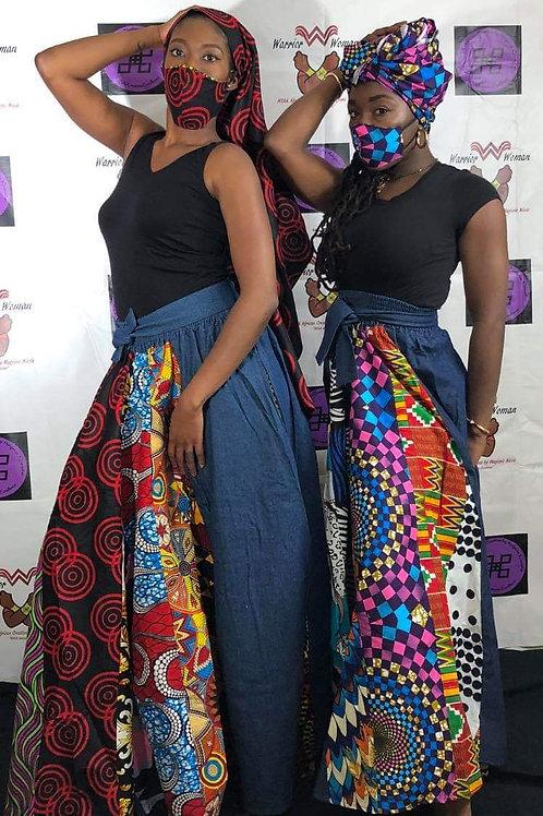 Denim & African Patchwork Maxi Skirt