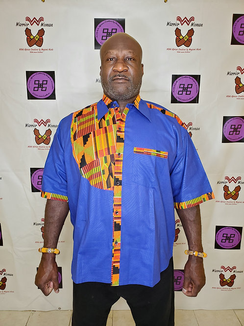 Button up shirt with kente accent