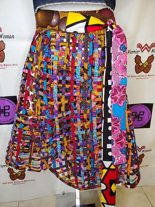 African Ankara net wrap skirt