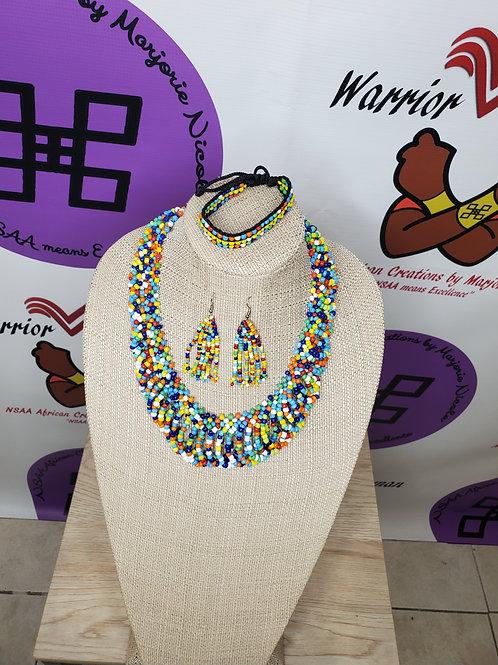 Beaded necklace, bracelet & earrings