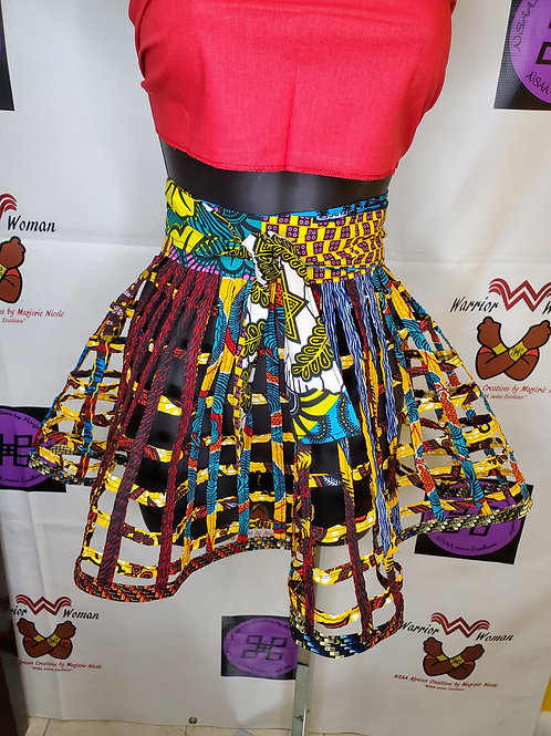 Children African Ankara net wrap skirt