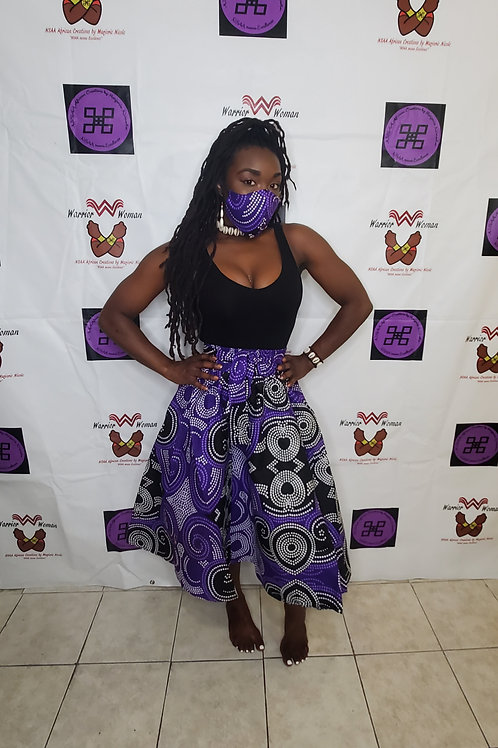 Midi Skirt, mask and Headwrap Set