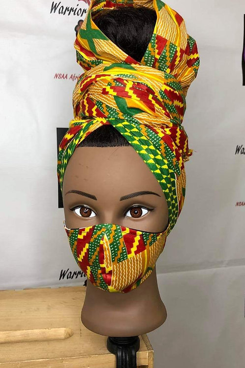 Afro-Mask with Matching Headwrap