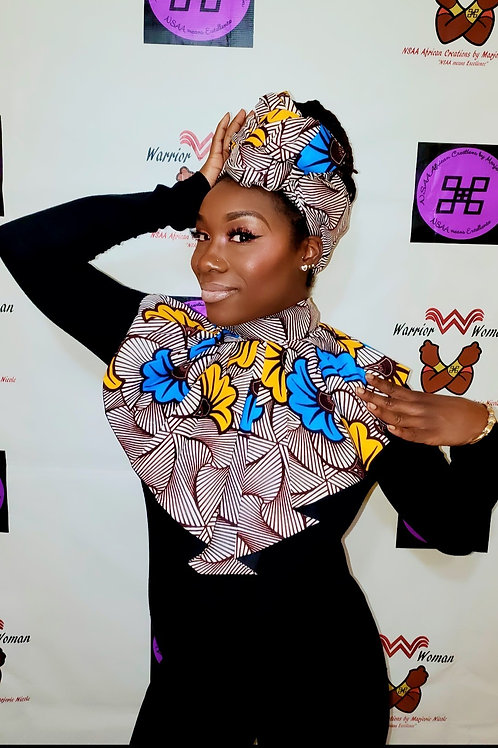 African Ankara Fabric Collar with headwrap