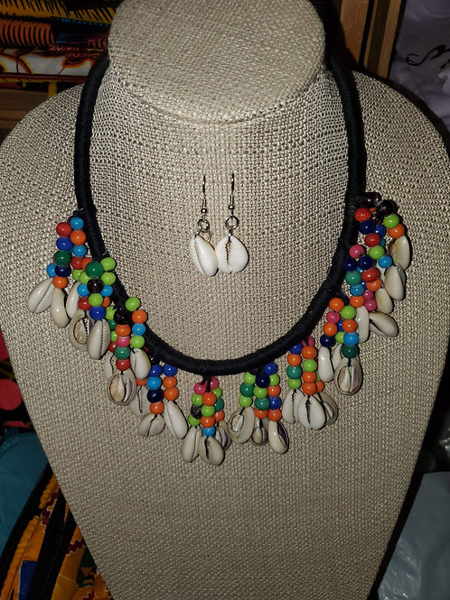 Green tribal necklace set
