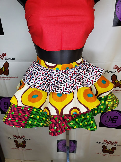 Youth three tier African print Skirt
