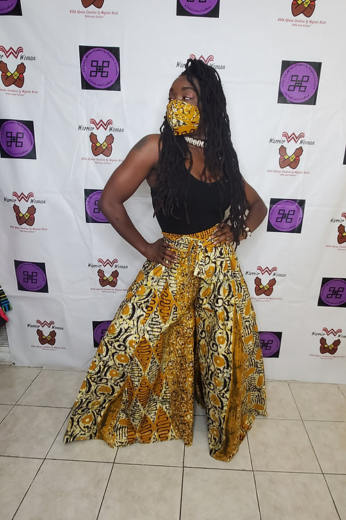 Afro-Mask with Maxi Skirt or Palazzo Pant