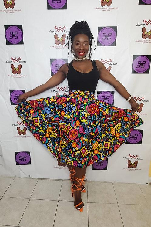 Afro-Mask and Midi Skirt Set