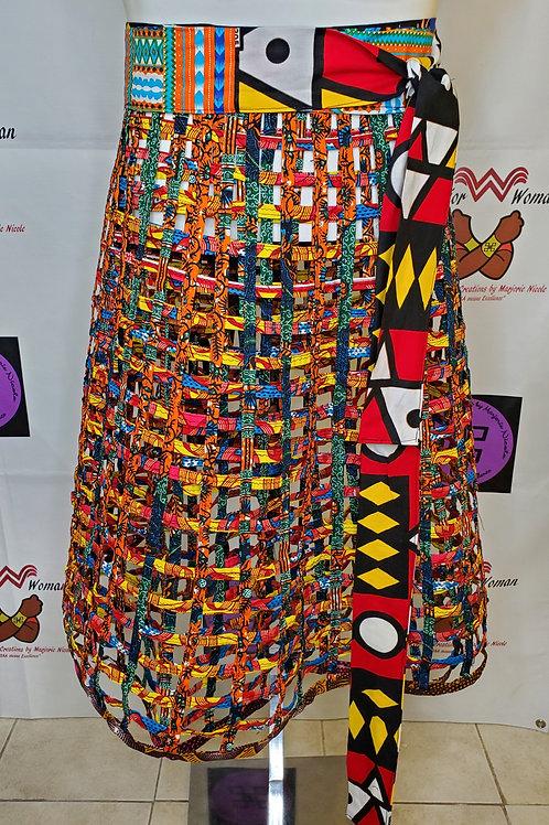 African Ankara cage wrap skirt