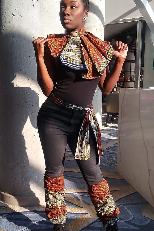 Ankara Fabric collar, belt and leg sleeves Set