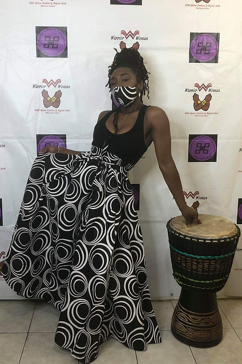 Afro-Mask and Maxi Skirt Set