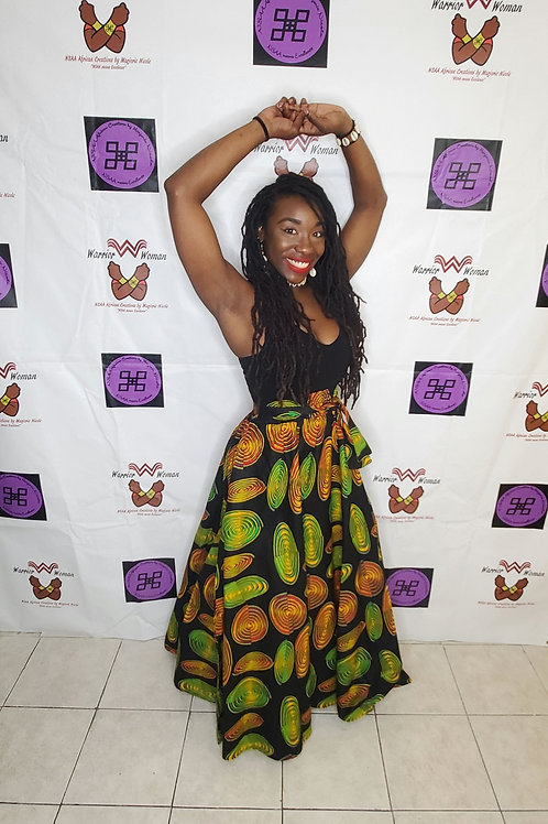 Afro-Mask Maxi Skirt and Headwrap