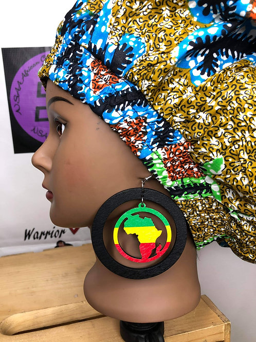 Wooden bright colored Africa earrings