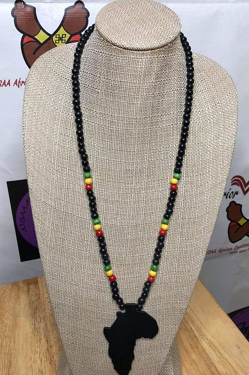 Unisex Wooden Africa Necklace