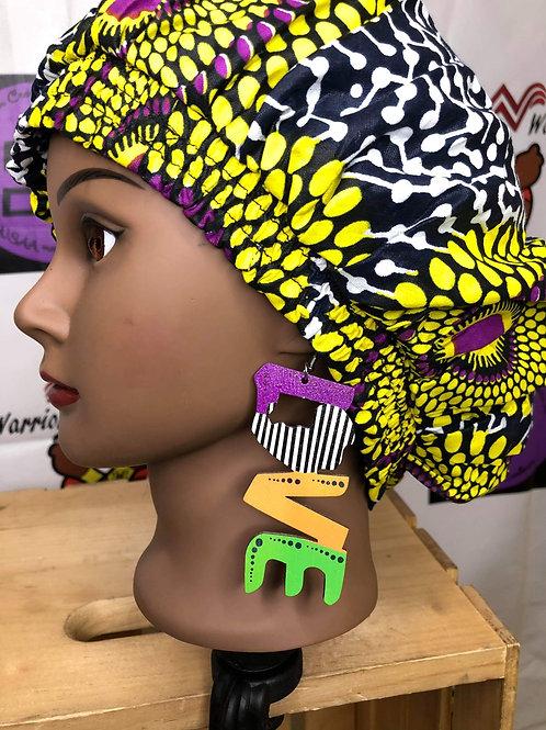 Wooden multi colored LOVE earrings