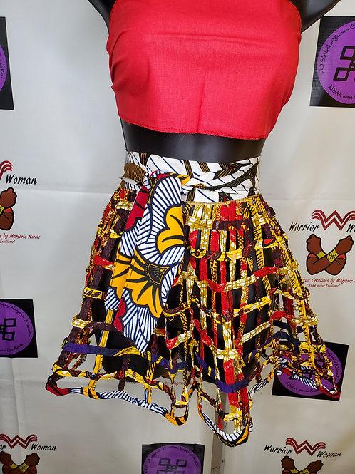 Children African Ankara net wrap skirt