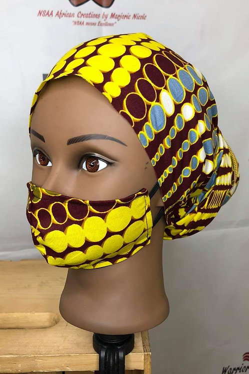Afro-Mask with matching headwraps